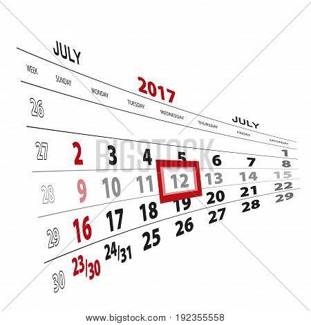 July 12, Highlighted On 2017 Calendar.