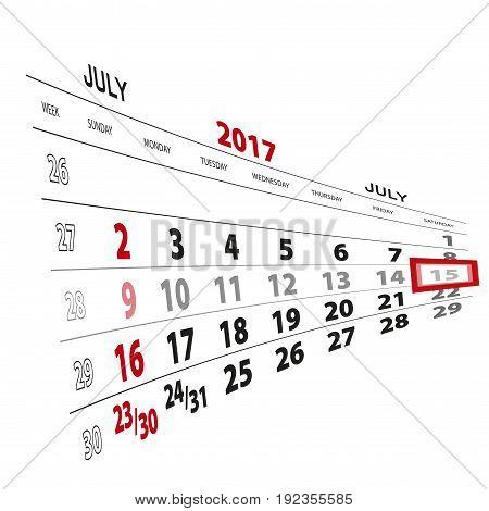 July 15, Highlighted On 2017 Calendar.