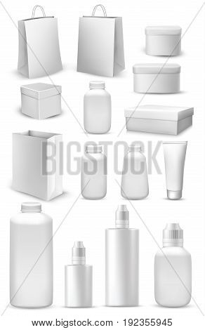 Big collection of shopping bags gift boxes plastic containers and cream tube. Vector