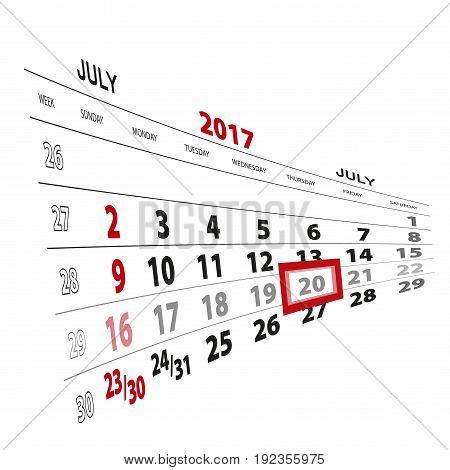 July 20, Highlighted On 2017 Calendar.