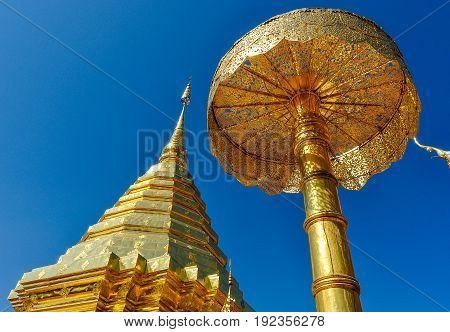 Golden Stupa In Doi Suthep Temple, Thailand