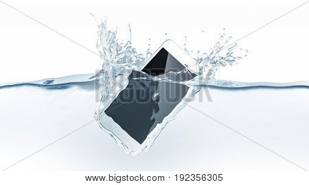 White smartphone mock up sinks in water 3d rendering. Mobile smart phone with touch screen mockup fall under liquid surface. Electronic waterproof cellphone falling and dive with splashes.