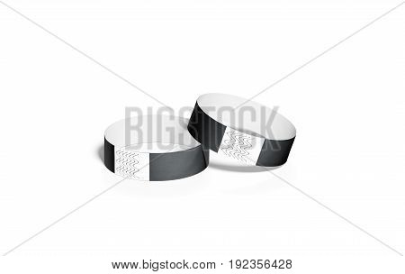 Blank black paper wristbands mock ups 3d rendering. Empty event wrist bands design mockup. Cheap hand bracelets template isolated. Clear bangle wristlet set with sticker. Concert armlet
