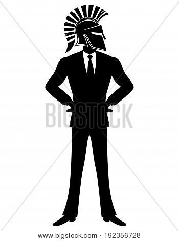 Business man in spartan helmet on a white background.