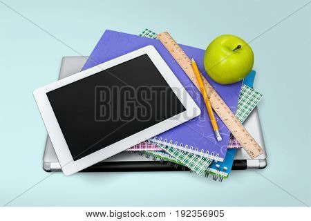 School pc accessories tablet computer background colorful