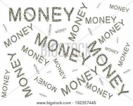 Background Made Of Money Words Lined On White Background Illustration