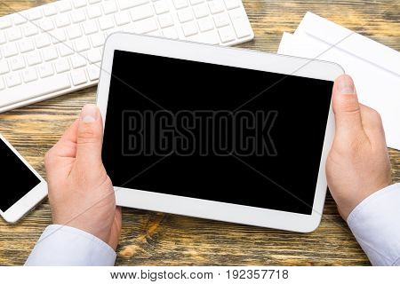 Male hands tablet pc it technology computer technology new technology technology concept
