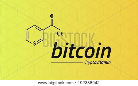 Bitcoin Chemical formula. Bitcoin like a Vitamin PP. Cubic isometric pattern. Eps10 Vector. Yellow background.