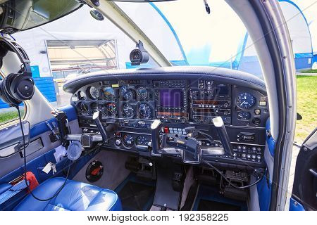 The pilot's working place before the flight on a sunny day.