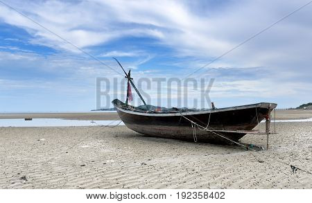 Small Wooden Fishing Boat.