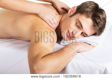 Man massage health care well being beautiful happy person