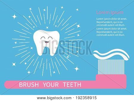 Tooth icon. Brush your teeth. Big toothbrush with toothpaste. Round line shining circle sparkle stars. Cute cartoon smiling character. Oral dental hygiene. Health care. Baby background. Flat Vector