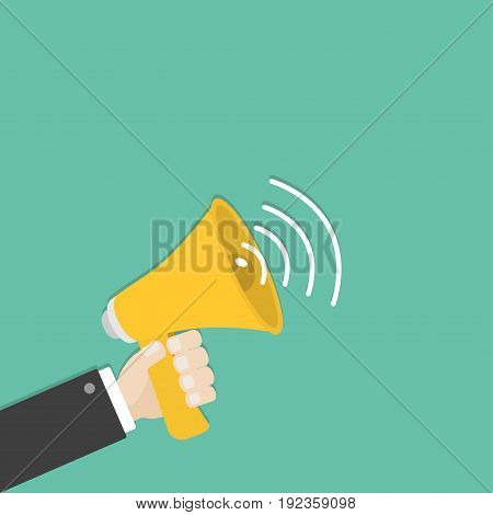 Businessman hand holding megaphone speaker loudspeaker icon. Announcement sign symbol. Flat design. Yellow color. Left corner template. White background. Isolated. Vector illustration