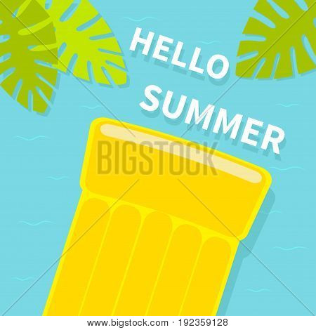 Floating yellow air pool water mattress. Top aerial view. Hello Summer greeting card. Palm tree leaf. Cute cartoon relaxing object. Sea Ocean water with waves Blue background Flat design. Vector