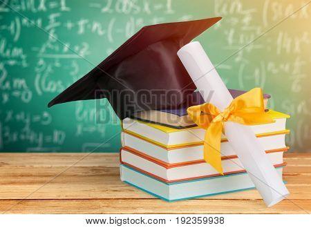 Concept education cap background celebration success board