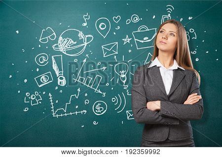 Young woman businesswoman facial expression white background person