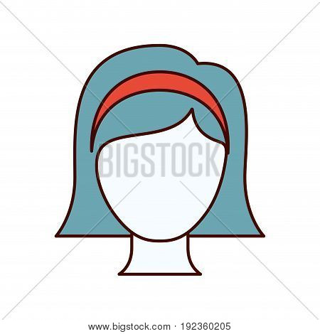 color sections silhouette faceless woman with straight short hair and bow lace vector illustration