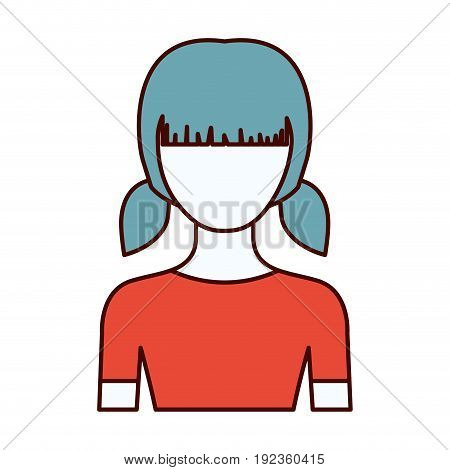 color sections silhouette of faceless half body girl with pigtails hairstyle vector illustration
