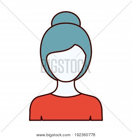 color sections silhouette of faceless half body woman with collected hairstyle vector illustration