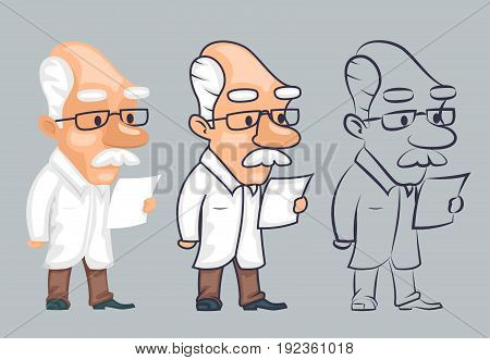 Lineart scientist reading paper character study vector illustration
