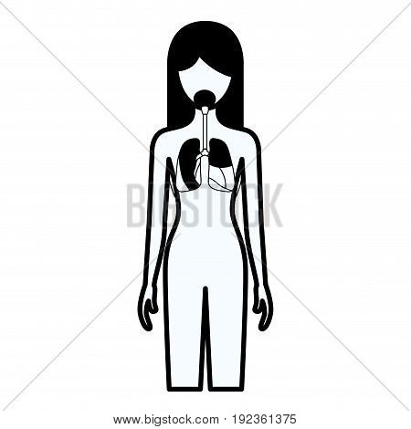 black silhouette thick contour of female person with respiratory system human body vector illustration