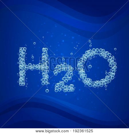 Water bubble background. Vector blue banner or flyer with water molecule h2o. Text made with cool bubbles. Shiny realistic foam and waves with sparkle. Eco lifestyle and healthy motivation.