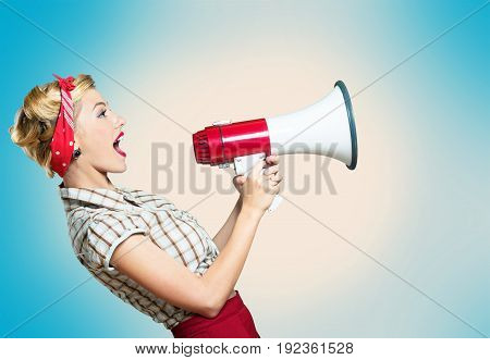 Holding one portrait old hold woman megaphone