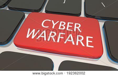 Cyber Warfare Internet Security Computer Keyboard Hacking 3d Illustration