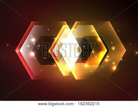 Techno glowing glass hexagons background, futuristic dark template with neon light effects and simple forms