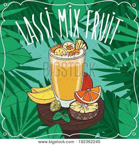 Multifruit Indian Drink Lassi With Mix Fruit Juice
