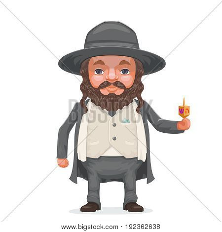Male rabbi payot beard traditional jewish costume hold dreidel hand cartoon character design vector illustration