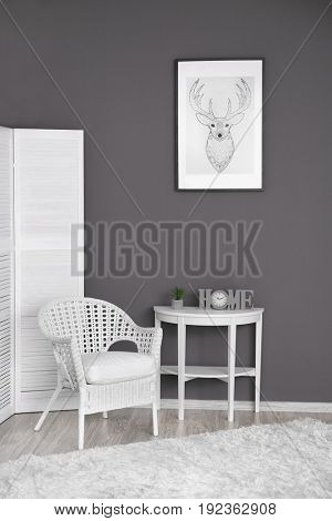 Modern interior design of room in grey-white colours
