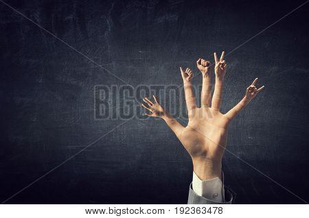 Showing finger gestures .