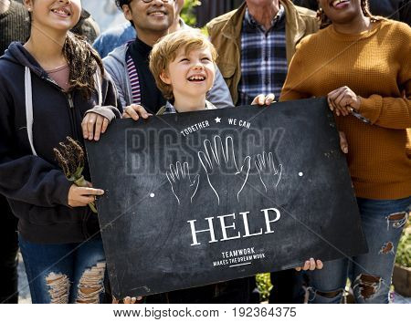 People holding billboard network graphic overlay