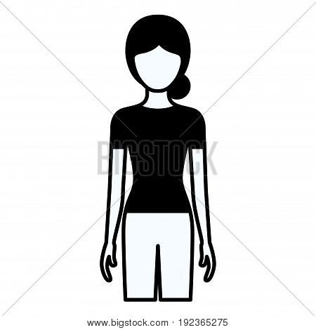 black silhouette thick contour of faceless full body woman with pants and collected hair vector illustration