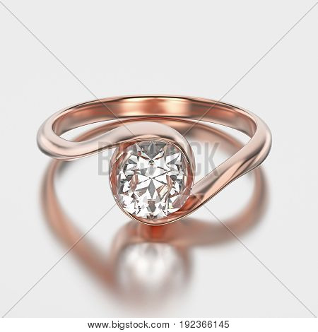 3D illustration rose gold bypass with diamond with reflection on a grey background