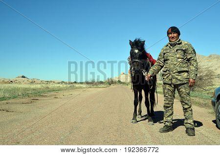 Bektau Ata national park ranger..May 7, 2017.Bektau Ata.Kazakhstan