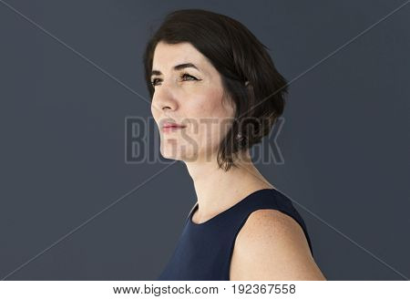 Senior adult confident woman studio portrait