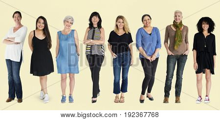 Diversity Women Set Gesture Standing Together Studio Isolated