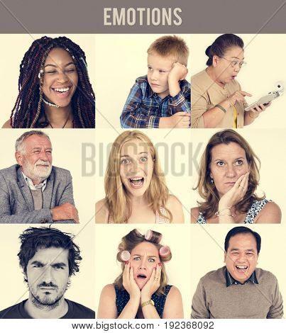 Set of Diversity People Face Expression Emotion Studio Collage