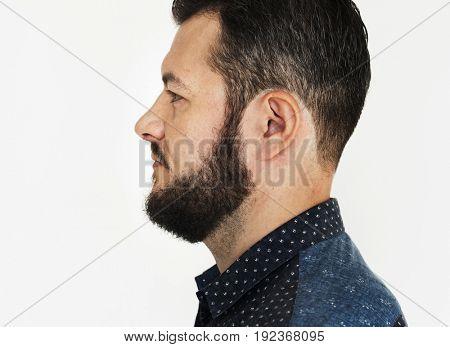 Adult Man Face Expression Studio Portrait