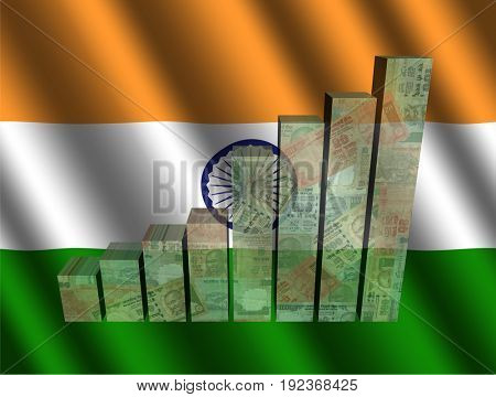 Currency graph on rippled Indian flag 3d illustration