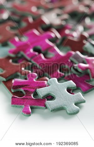 Photograph of high quality puzzle pieces taken in studio.