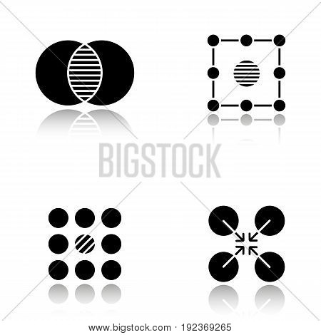 Abstract symbols drop shadow black glyph icons set. Merging, isolation, contradictory, cooperative concepts. Isolated vector illustrations