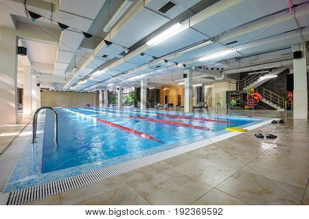 Empty swimming pool in sport club