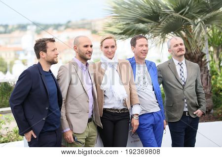 Mohamed Diab, Uma Thurman, Reda Kateb and Karel Och attend the Jury un Certain Regard photocall during the 70th annual Cannes Film Festival at Palais des Festivals on May 18, 2017 in Cannes, France.