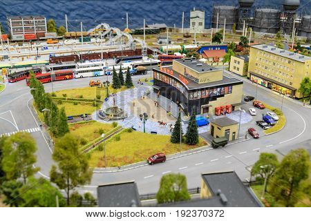 Saint Petersburg, Russia - May 13, 2017: Fragment Big Grand Maket Russia. Grand Maket Russia the world's largest model of Russia from Kaliningrad to the Far East