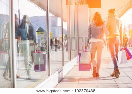 Rear view of young female friends with shopping bags walking on sidewalk
