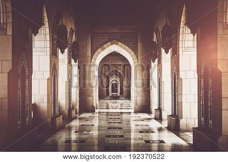 MUSCAT, OMAN - CIRCA AUGUST 2016: IArchway inside of Grand Mosque of Muscat, Sultanate of Oman