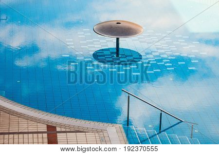 outdoor swimming pool with thermal transparent  water